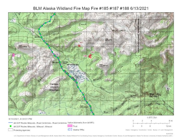 This map shows the three fires burning in relation to the Dalton Highway between mileposts 106 and 110.