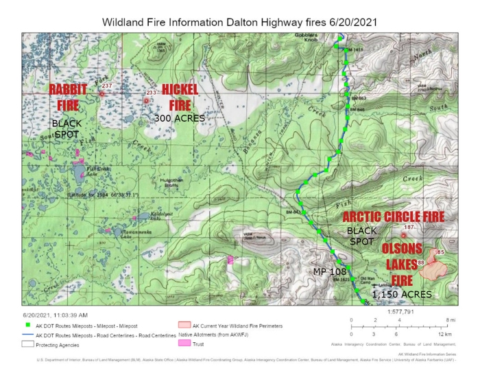Map of fires burning on both sides of the Dalton Highway corridor from milepost 106 north.