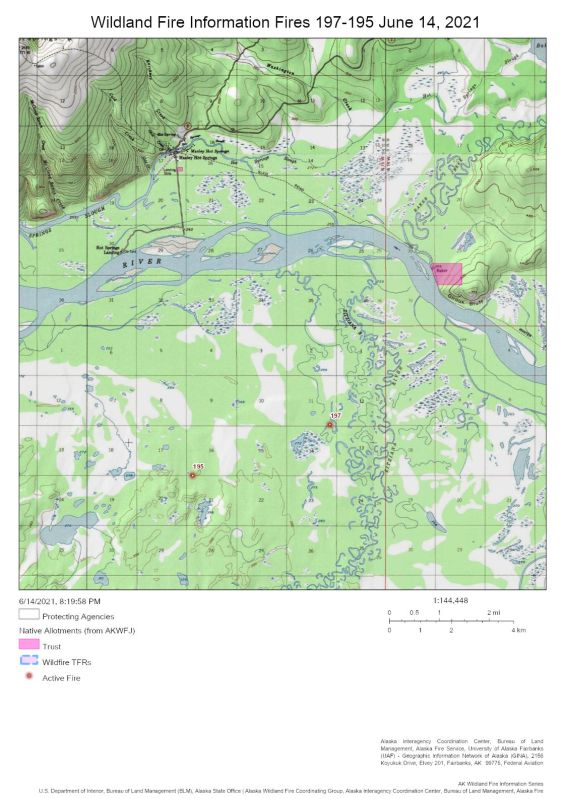 Map showing the Dry Creek Fire (#195) and the nearby Zitziana River Fire (#197) in relation to the Tanana River on June 14, 2021.