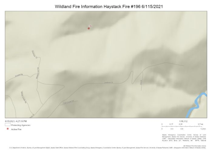 Updated coordinates show fire the Haystack Fire (#196) burning north of the Haystack subdivision on June 15, 2021.