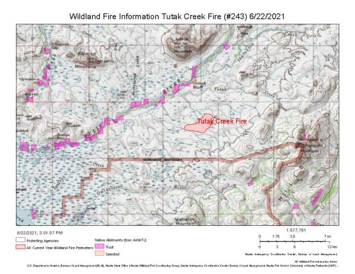Map of the Tutak Creek Fire (#243) in the Northwestern Arctic. Eight smokejumpers mobilized to protect a Native allotment near the 2,000-acre tundra fire.