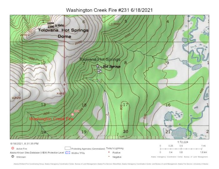 Map of the Washington Creek Fire (#231) in relationship to the Tolovana Hot Springs about a mile north of the fire.
