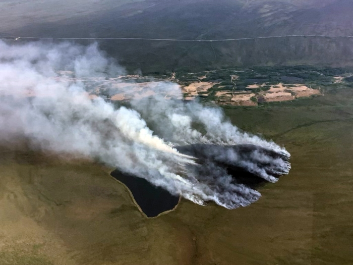 Smoke rising up from a burned area next to a lake.