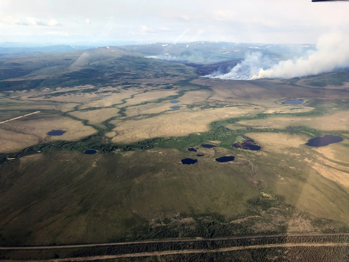 The roughly 1,150 Olsons Lake Fire (#188) is burning about 3 miles to the east of the Dalton Highway from milepost 106-110. This photo was taken on June 18, 2021 before the fire area received significant rain and moderated fire activity.