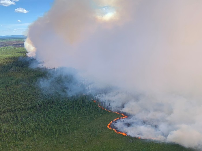 Smoke billowing up from a fire burning through tundra and forest.