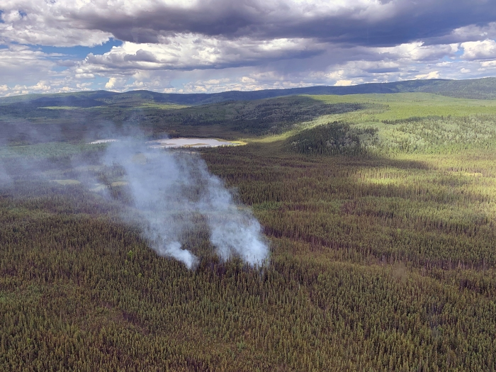 Smoke rises form the Rosie Creek Fire (#174) that was reported at around 1:30 p.m. Saturday, June 12, 2021 approximately 14 miles southwest of Fairbanks and 3 miles south of the Parks Highway