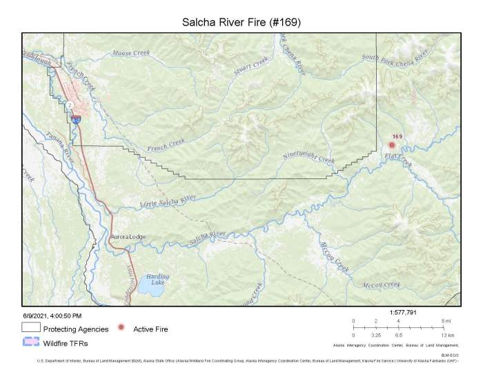 Map showing the location of the Salcha River Fire (#169)