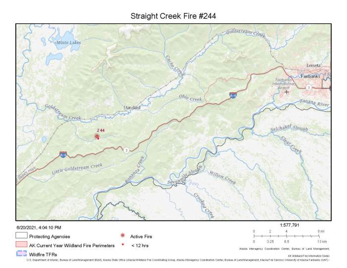 A map showing the location of the Straight Creek Fire (#244) north of the Parks Highway behind Skinny Dick's Halfway Inn.