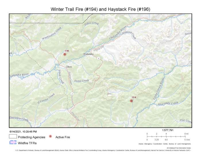 A map showing the locations of the Winter Trail Fire (#194) and Haystack Fire (#196) north of Fairbanks.
