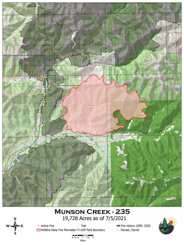 A map of the perimeter of the Munson Creek Fire burning near Chena Hot Springs at the end of Chena Hot Springs Road approximately 50 miles east of Fairbanks.