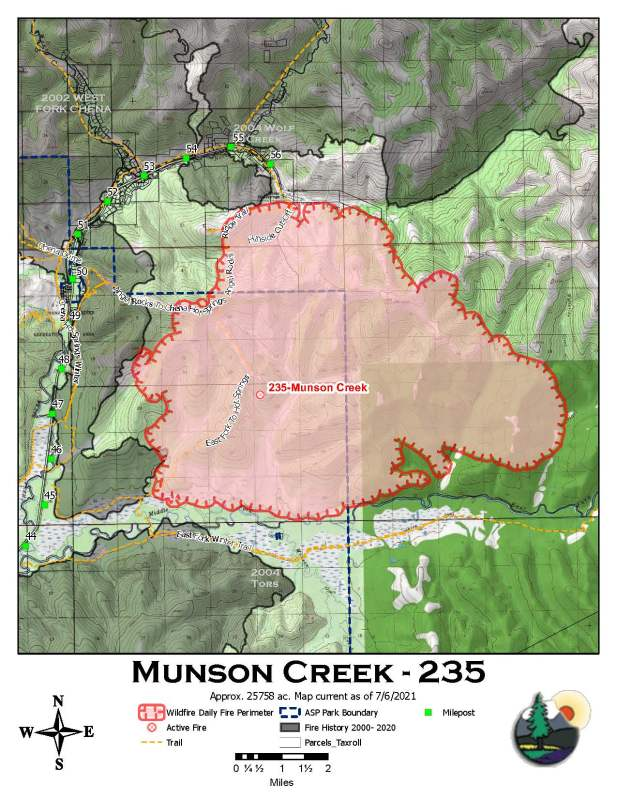 A map showing the rough perimeter of the 25,758-acre Munson Creek Fire as of Tuesday morning, July 6, 2021.