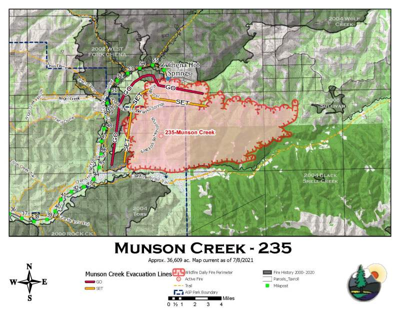 A map showing the new perimeter of the Munson Creek Fire, which is now estimated at 36,609 acres following a reconnaissance flight on Wednesday, July 7, 2021.
