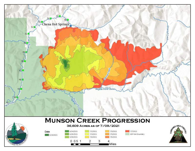 A brightly colored progression map of the Munson Creek Fire showing growth on the 36,609-acre fire over the last two weeks.