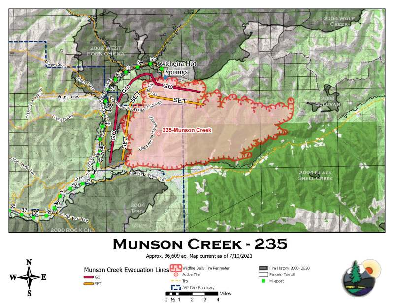 A map showing the perimeter of the 36,609-acre Munson Creek Fire.