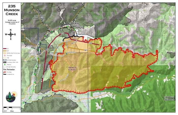 A map of the perimeter of the 36,609-acre Munson Creek Fire burning approximately 50 miles east of Fairbanks near Chena Hot Springs.