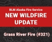 Graphic for new fire update on the Grass River Fire.