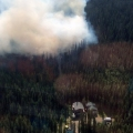 Smoke rising from a wildfire in the woods a short distance from a home.