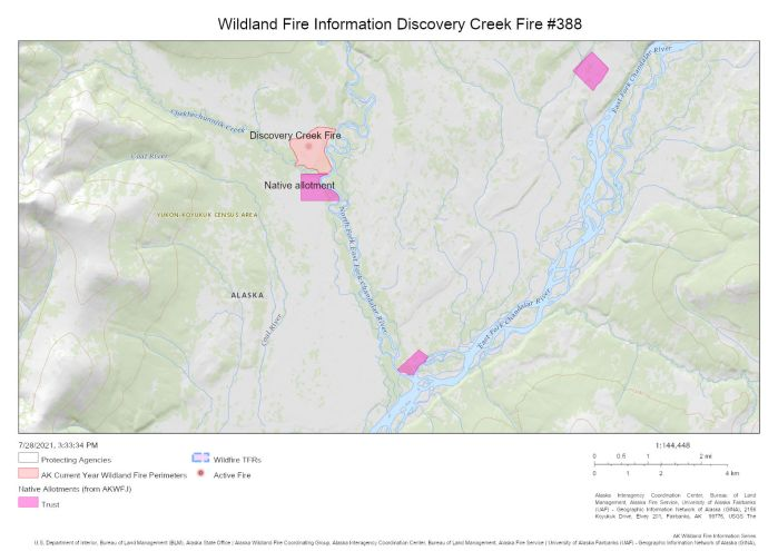 Map showing where the Discovery Creek Fire has burned to the north of a Native allotment about 30 miles northwest of Venetie.