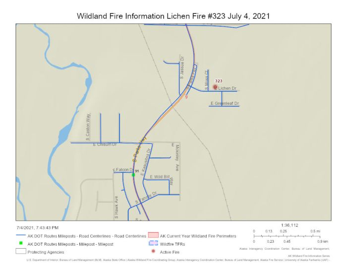 Map of Lichen Fire (#323) burning near Lichen Drive in Willow north of milepost 91 of the Parks Highway.