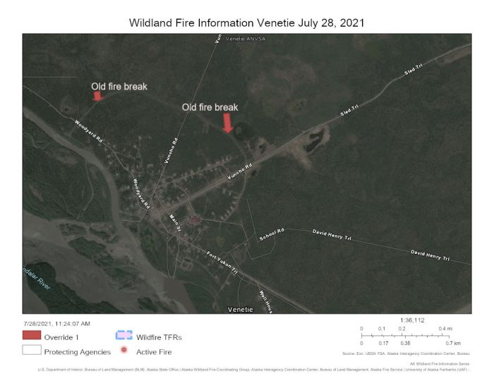 Map showing the old fire break the North Star Fire Crew will be helping brush out to protect the village of Venetie from the Marten Creek Fire some 13 miles to the east.