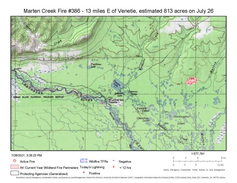 A map showing the location of the Marten Creek Fire approximately 13 miles east of Venetie.