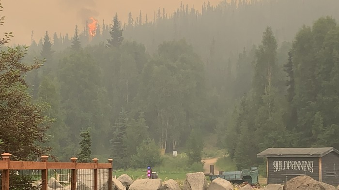 A tree torches behind Chena Hot Springs as the Munson Creek Fire slowly advances down the hillside toward the resort. Ira Hardy/Alaska DNR-Division of Forestry