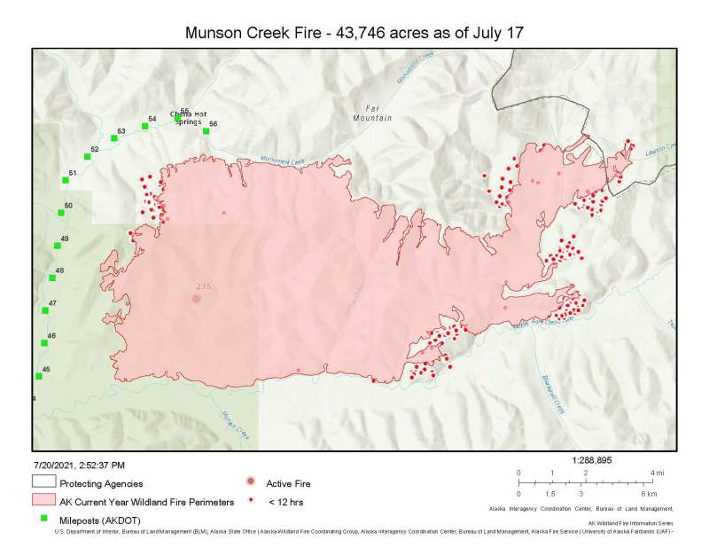 A perimeter map of the 43,746-acre Munson creek Fire with heat points representing new growth.