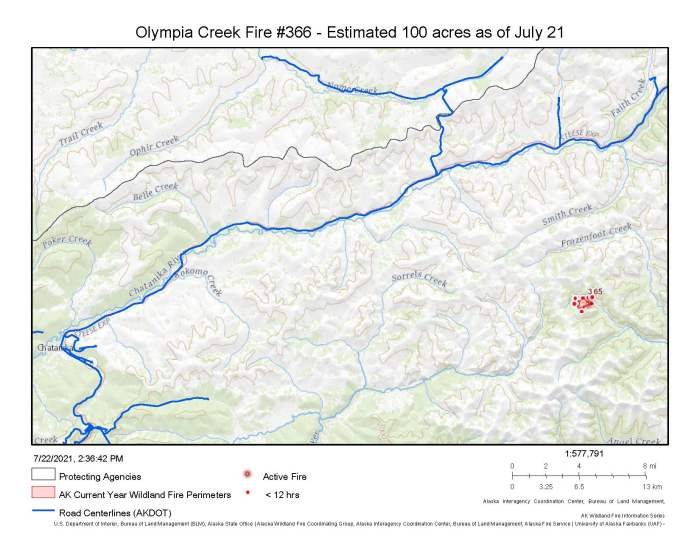 A map showing the location of the Olympia Creek Fire about 30 miles east of Chatanika.