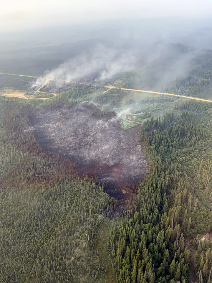 Fire rising out of a burned spot in a forest next to a raod.