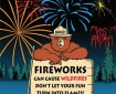 Graphic with Smokey Bear and a fireworks sign.