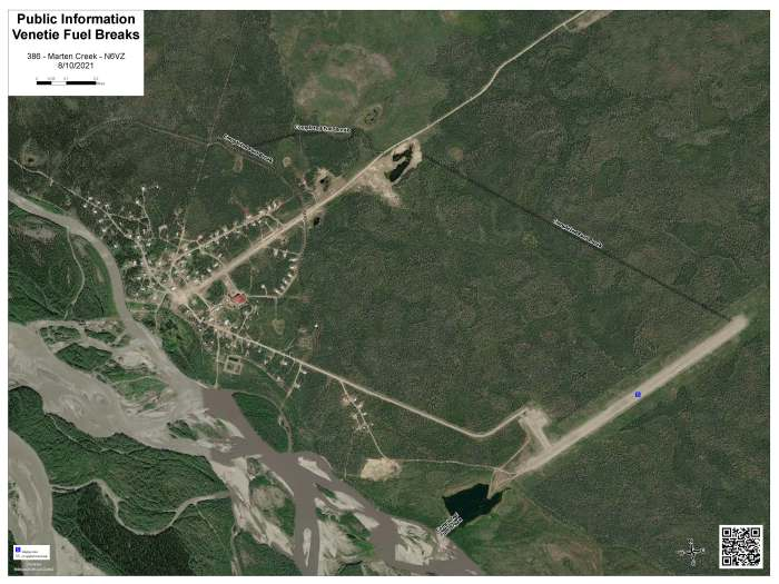 Map showing fire breaks constructed around Venetie by crews working on the Marten Creek Fire.