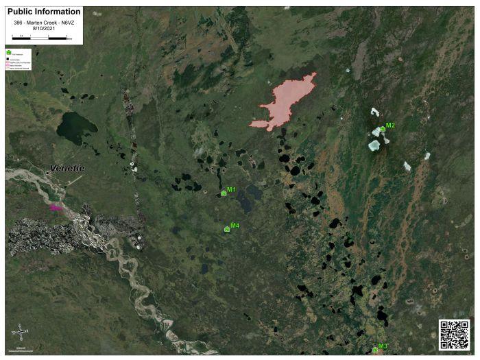 Map of Marten Creek Fire (#386) burning about 10 miles northeast of Venetie on Aug. 10, 2021.