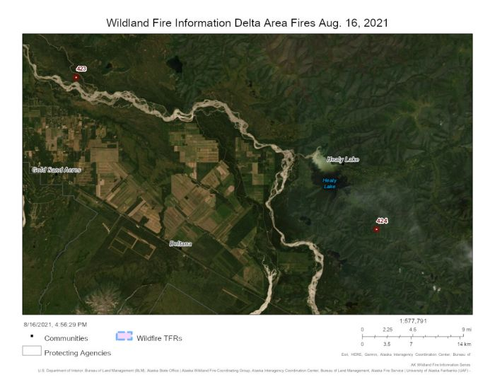 Map showing the two new wildfires in relation to Delta Junction.