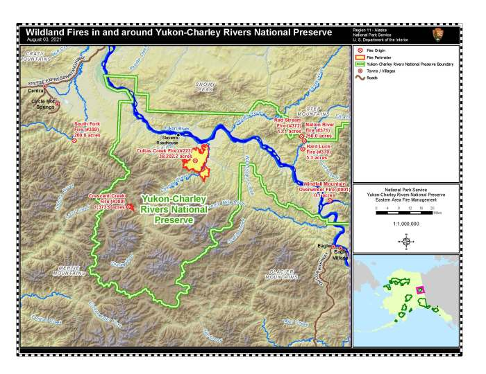 Map of fires burning in or near the Yukon-Charley National Preserve near Eagle.