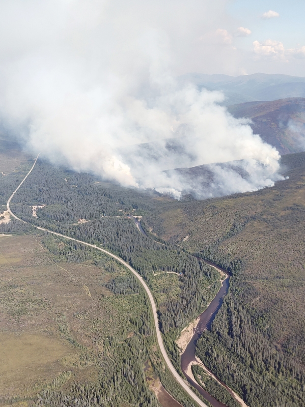 Smoke from a fire near Chena Hot Springs Road east of Fairbanks