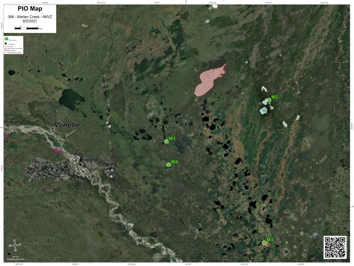 Map of fire in relation to the village of Venetie and three historical fires south of the fire for Aug. 5, 2021.