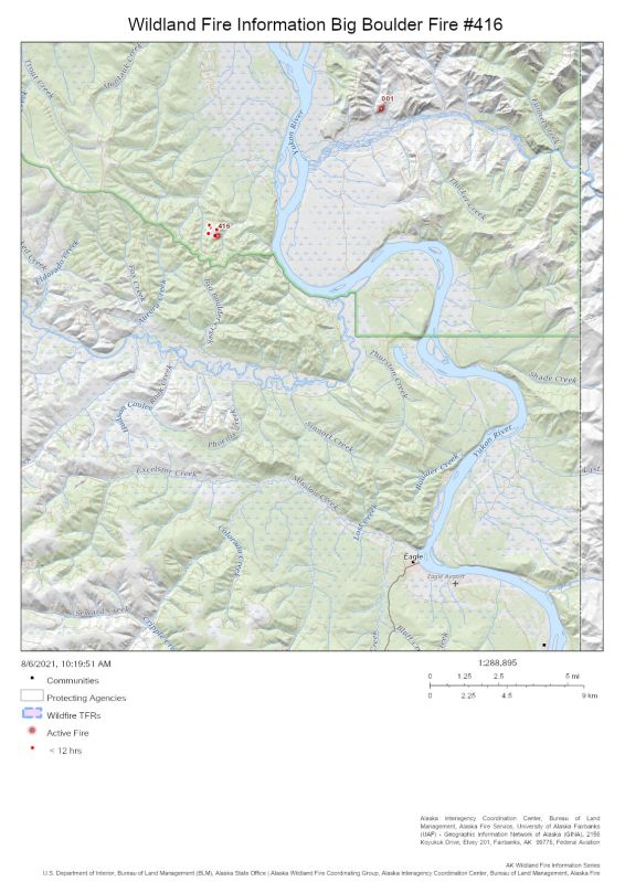 Map of the Big Boulder Fire (#416) in relation to Eagle on Aug. 6, 2021.