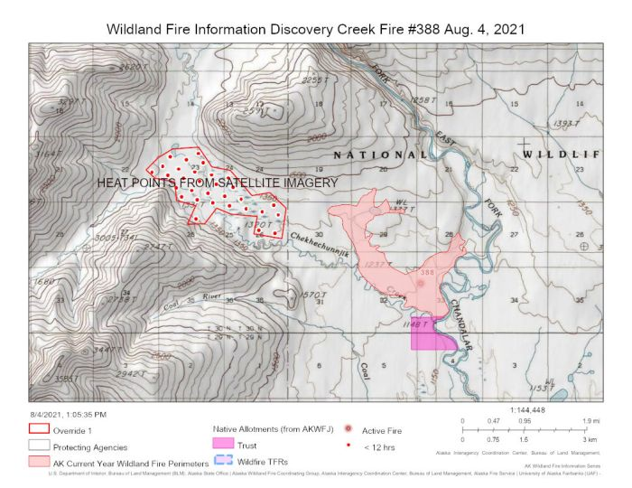 This map from today, Aug. 4, 2021 shows the Discovery Creek Fire (#388) burning 30 miles northwest of Venetie. The red dots are satellite imagery of heat points recorded in the last 24 hours.