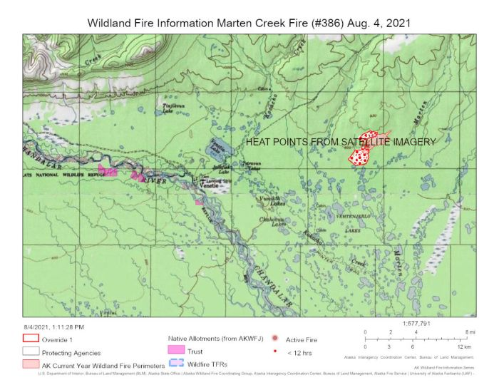 This map from today, Aug. 4, 2021 shows the Marten Creek Fire (#386) burning nine miles northeast of Venetie. The red dots are satellite imagery of heat points recorded in the last 24 hours.