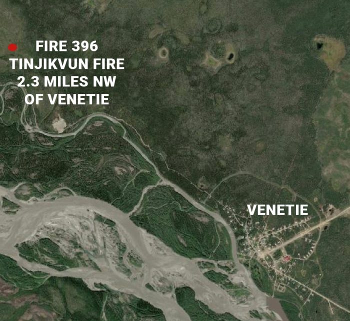 Map showing location of new fire in relation to the village of Venetie.