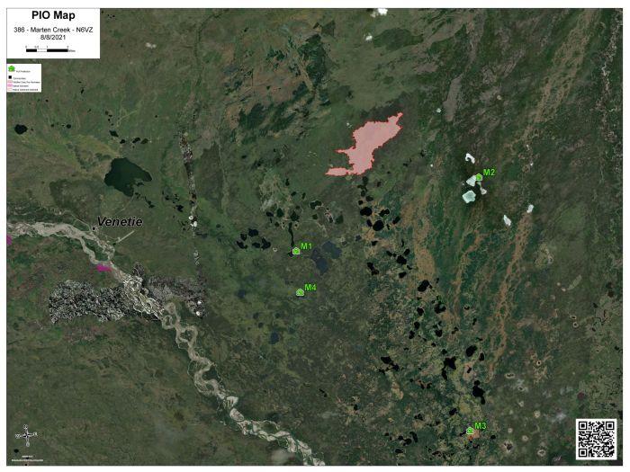 Map of Marten Creek Fire (#386) burning about 10 miles northeast of Venetie on Aug. 8. 2021.