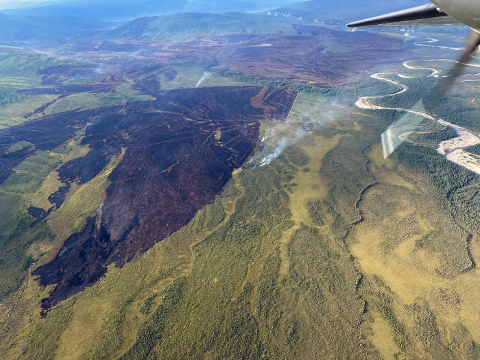 Photo of fire area with minimal smoke as shot from a plane over the Discovery Creek Fire.