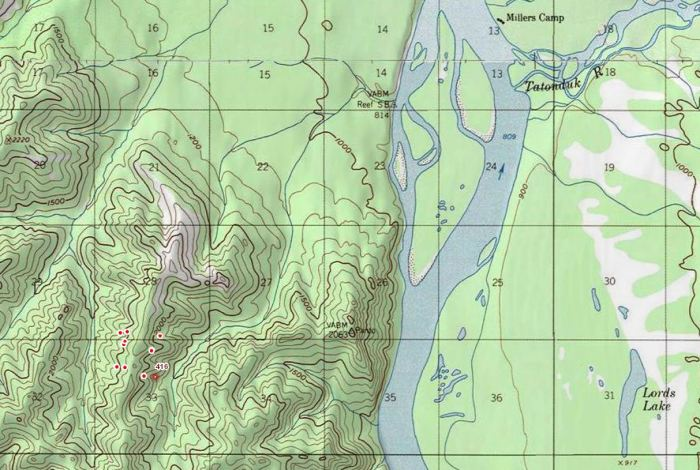 Close up map of the Big Boulder Fire (#416) burning near the Yukon River on Aug. 6, 2021.