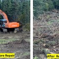 Before and after shots of a dozer line that was repaired following suppression of the Haystack Fire north of Fairbanks