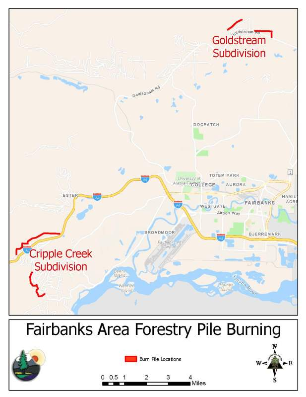 A map showing the location of two subdivisions where Fairbanks Area Forestry will be burning slash piles starting Monday, October 4.
